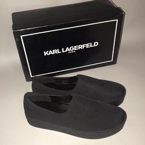 Karl lagerfeld París black stretch twill shoes/box